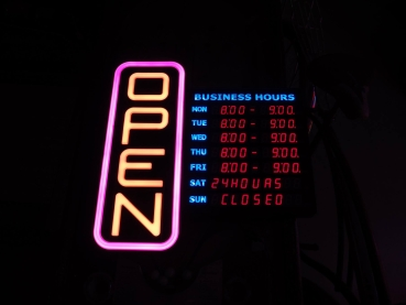 Greenlight LED Multi-Colored OPEN/Business Hours Sign - US Import