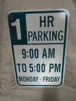 1 Hour Parking Sign - US Import